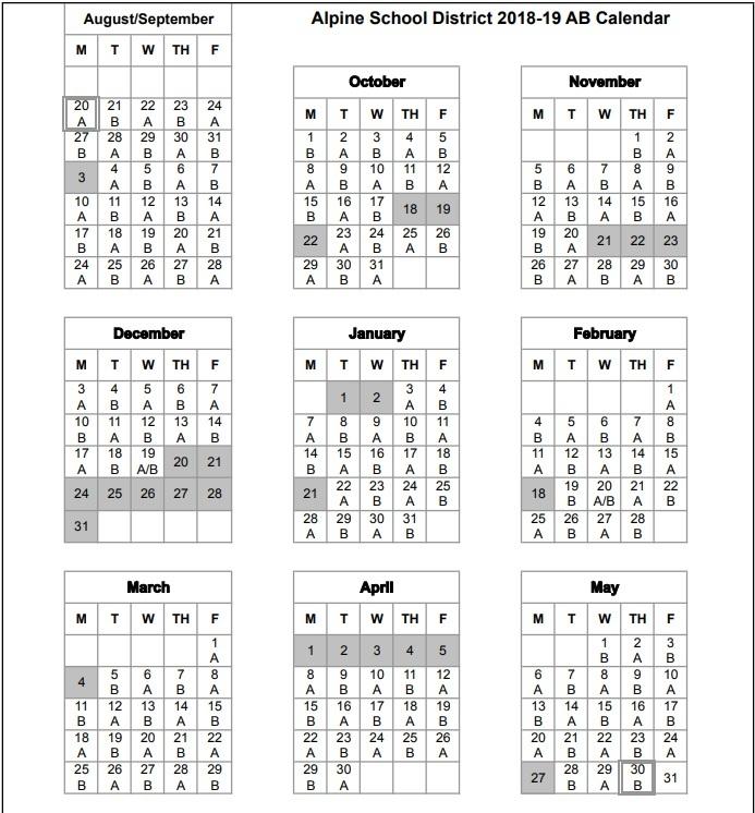 Alpine School District Calendar 2020 Home